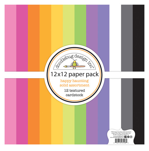 Doodlebug Happy Haunting 12x12 Textured Cardstock Paper Pack
