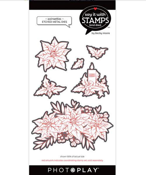 PhotoPlay Say It With Stamps: Poinsettias Etched Metal Dies