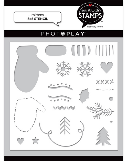 """PhotoPlay Say It With Stamps: Mittens 6""""x6"""" Stencil"""