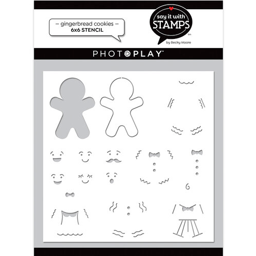"""PhotoPlay Say It With Stamps: Gingerbread Cookie 6""""x6"""" Stencil"""