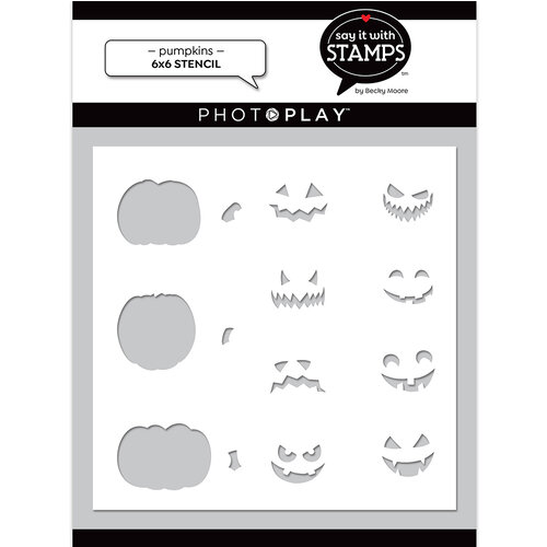 """PhotoPlay Say It With Stamps: Pumpkins 6""""x6"""" Stencil"""