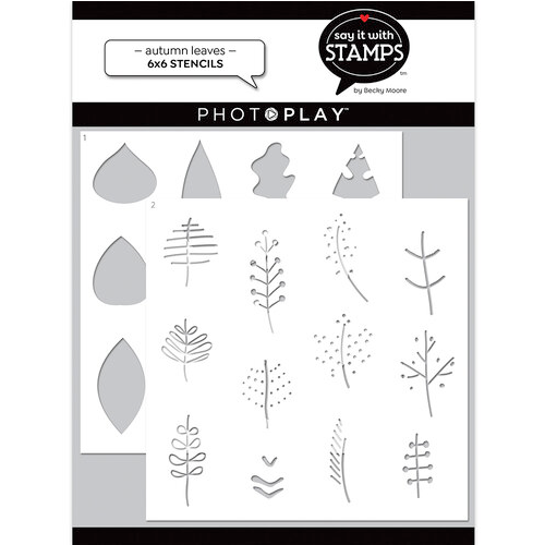 """PhotoPlay Say It With Stamps: Autumn Leaves 6""""x6"""" Stencil (2 Pieces)"""