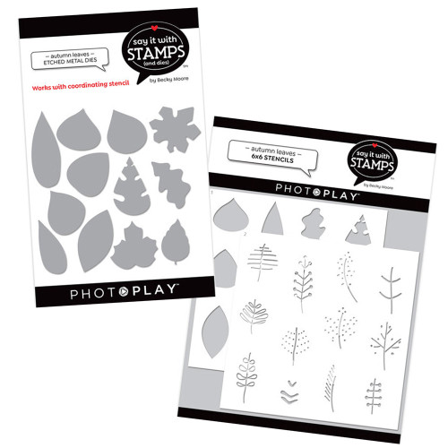 PhotoPlay Say It With Stamps Stencil/Die Combo: Autumn Leaves