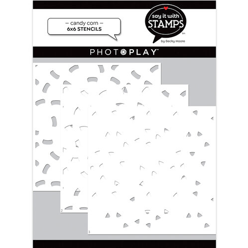 """PhotoPlay Say It With Stamps: Candy Corn 6""""x6"""" Stencil (3 Pieces)"""