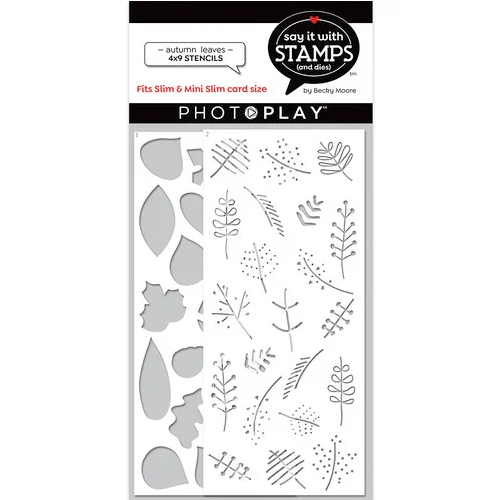 PhotoPlay Say It With Stamps 4x9 Slimline Stencil: Autumn Leaves (2 Pieces)