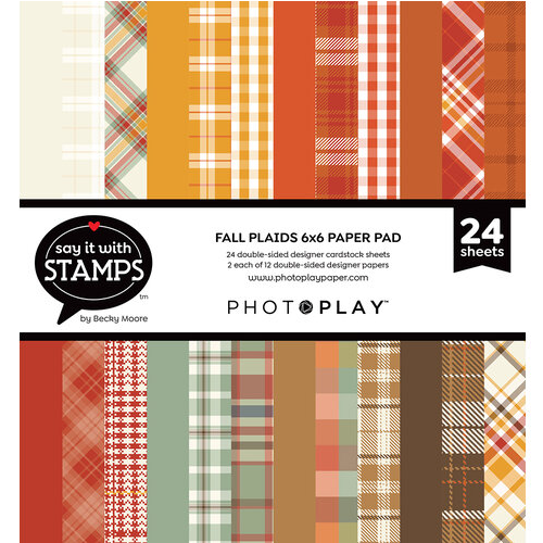 PhotoPlay 6x6 Say It With Stamps Paper Pad: Fall Plaids