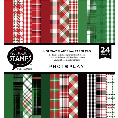 PhotoPlay 6x6 Say It With Stamps Paper Pad: Holiday Plaids