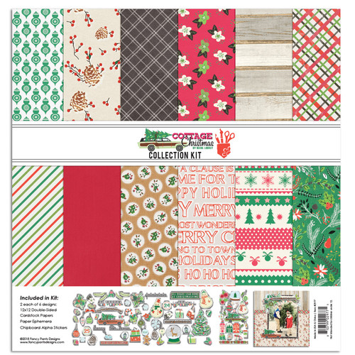 Fancy Pants Cottage Christmas Collection Pack (12 papers, chipboard stickers, ephemera)