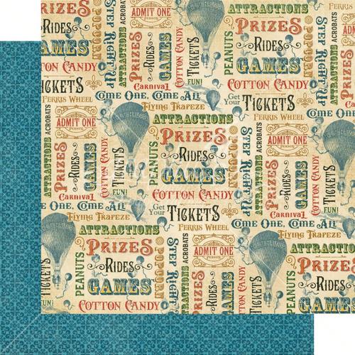 Graphic 45 Come One, Come All 12x12 Paper: Fun 'n Games