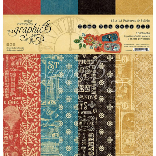 Graphic 45 Come One, Come All 12x12 Patterns & Solids Paper Pad
