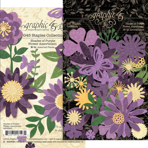 Graphic 45 Staples Collection: Flower Assortment | Shades of Purple