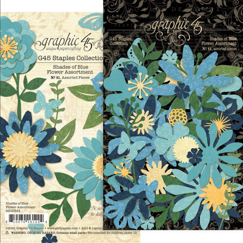 Graphic 45 Staples Collection: Flower Assortment | Shades of Blue