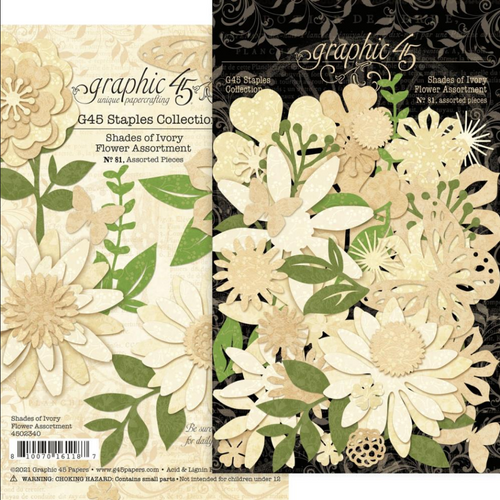 Graphic 45 Staples Collection: Flower Assortment | Shades of Ivory