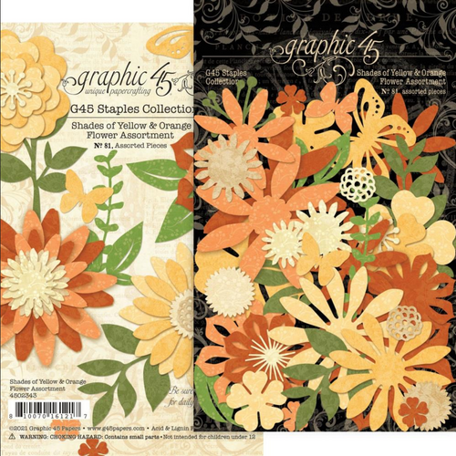 Graphic 45 Staples Collection: Flower Assortment | Shades of Yellow & Orange