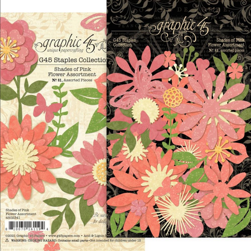 Graphic 45 Staples Collection: Flower Assortment | Shades of Pink