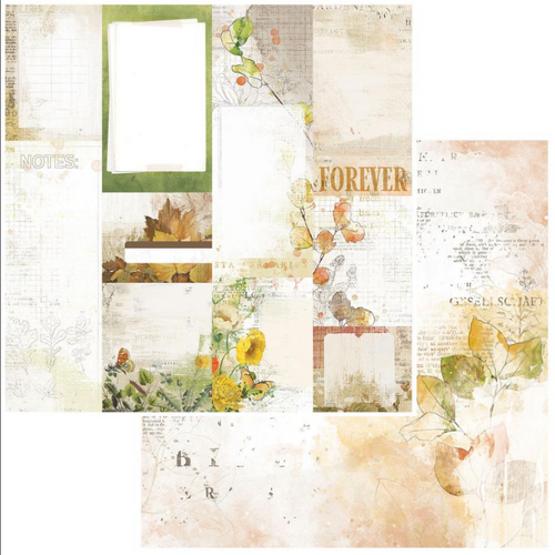 49 and Market Vintage Artistry 12x12 Paper: In the Leaves | Journal Cards