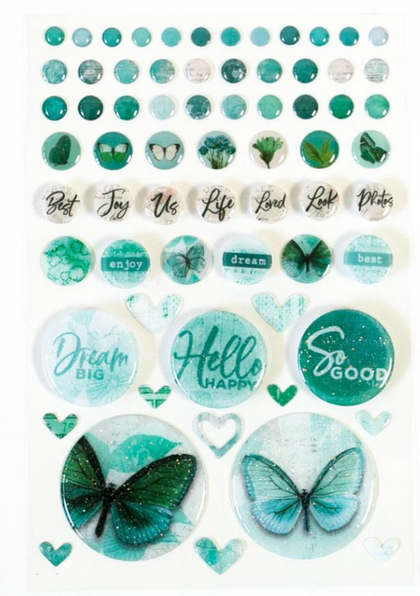 49 and Market Vintage Artistry Wishing Bubbles & Trinkets Epoxy Coated Stickers: Teal