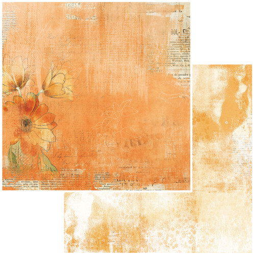 49 and Market Vintage Artistry 12x12 Paper: Mango | Tangelo Mellow