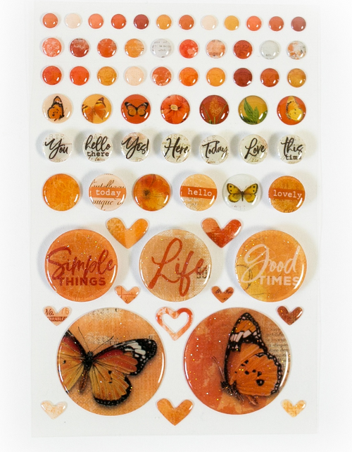 49 and Market Vintage Artistry Wishing Bubbles & Trinkets Epoxy Coated Stickers: Mango
