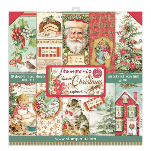 Stamperia 6x6 Paper Pack: Classic Christmas