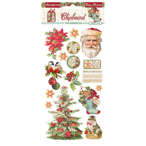 Stamperia Classic Christmas Adhesive Chipboard