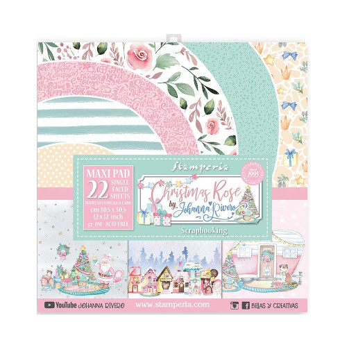 Stamperia 12x12 Paper Maxi Pack: Christmas Rose