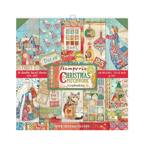 Stamperia 12x12 Paper Pack: Christmas Patchwork