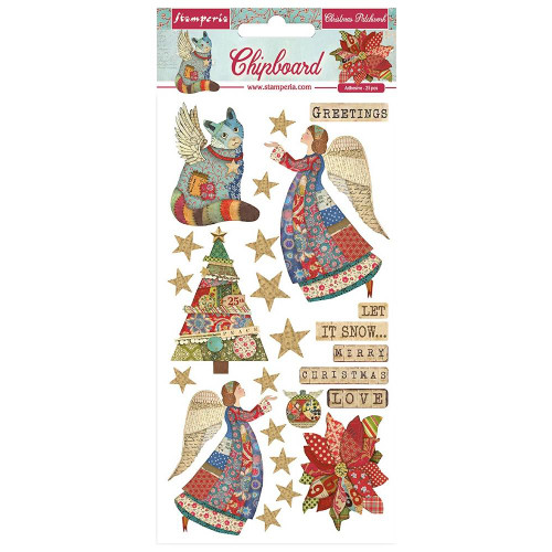 Stamperia Christmas Patchwork Adhesive Chipboard