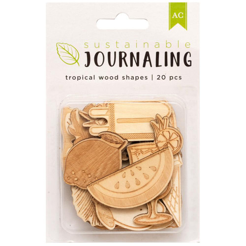 AC Sustainable Journaling Wood Shapes: Tropical (20 pcs)