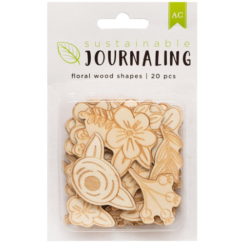 AC Sustainable Journaling Wood Shapes: Floral (20 pcs)