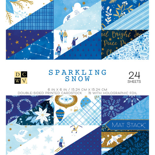 DCWV 6x6 Premium Stack: Sparkling Snow - Holographic Foil