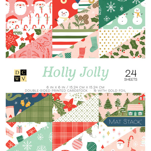 DCWV 6x6 Premium Stack: Holly Jolly - Gold Foil