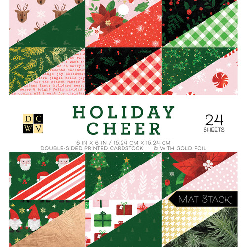 DCWV 6x6 Premium Stack: Holiday Cheer - Gold Foil