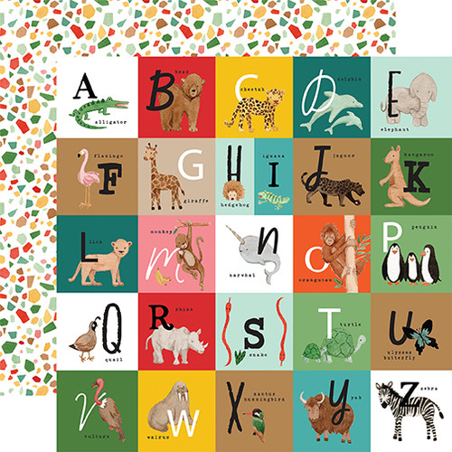 Echo Park Animal Kingdom 12x12 Paper: Alphabet Squares