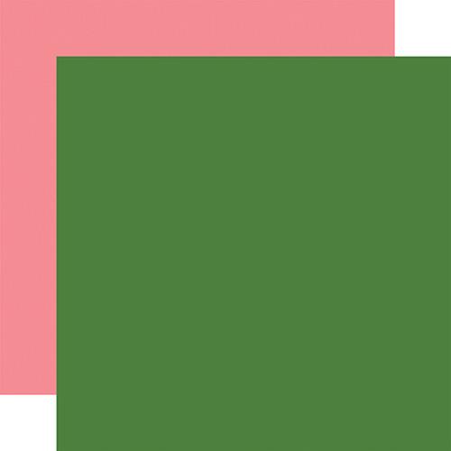 Echo Park Animal Kingdom 12x12 Paper: Green / Pink (Coordinating Solid)