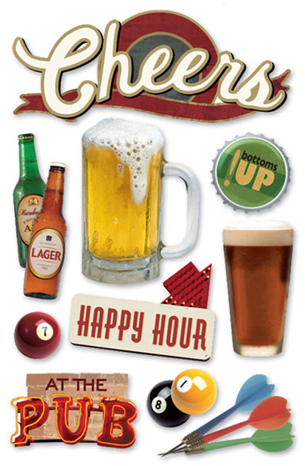 Paper House 3D Sticker: Cheers