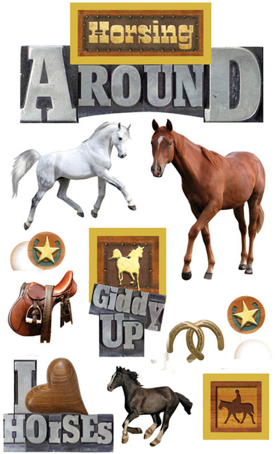 Paper House 3D Sticker: Horsing Around