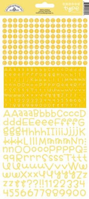 Doodlebug Teensy Type Cardstock Alphabet Stickers: Bumblebee