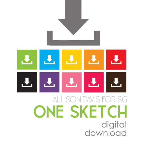 * DIGITAL DOWNLOAD * ONE SKETCH - Large Background with Accents | Two Page Layout