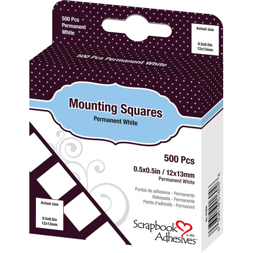 Scrapbook Adhesives Permanent Mounting Squares - White (500/Pkg)