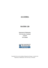 MATHS 120 Course Book - Algebra