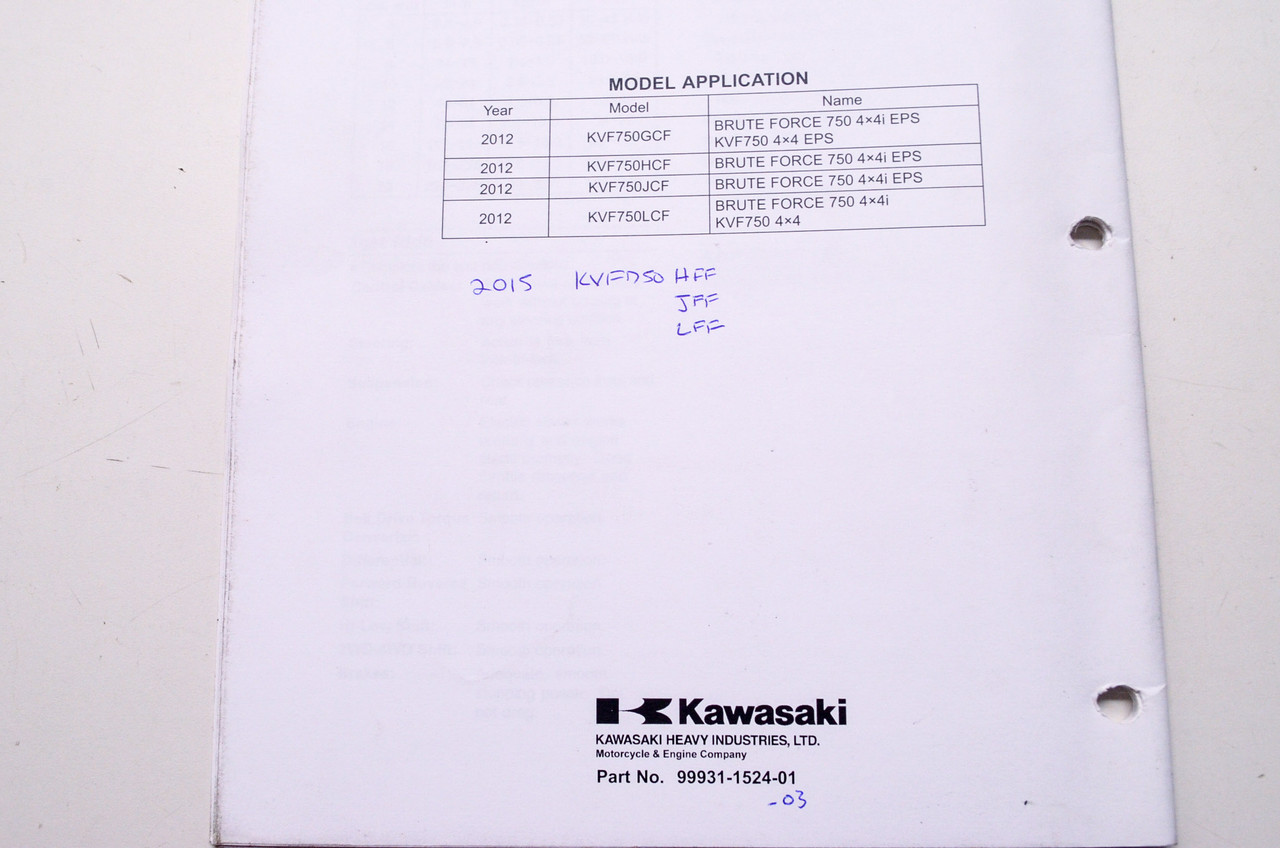 Kawasaki Brute Force 750 4x4i KVF750 4x4 EPS ATV Assembly & Preparation  Manual 99931-1524