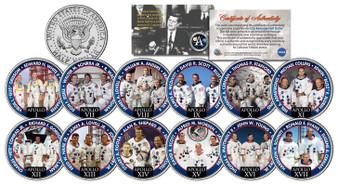 Apollo Astronaut Crews Colorized JFK Half Dollar 12 Coin Set