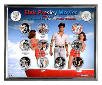 "Elvis Movies Set 2 Colorized JFK Half Dollar 10 Coin Set in 8"" x 10"" Frame"