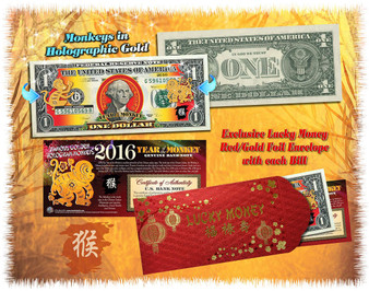 2016 Year Of The Monkey Lucky Colorized & Gold Hologram $1 Bill in Red Envelope