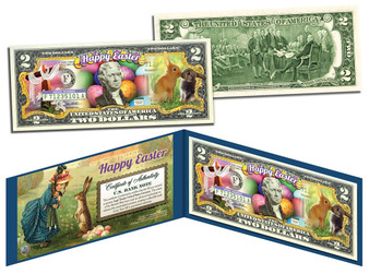 Easter Bunny Colorized $2 Bill