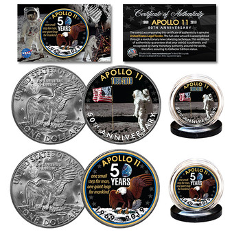 Apollo 11 50th Anniversary Bicentennial Ike Dollar 2 Coin Set