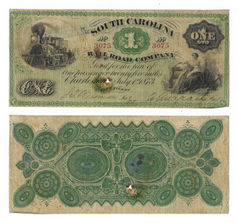 1873 South Carolina Railroad Company $1 Bill Fare Ticket Dated July 1st, 1873