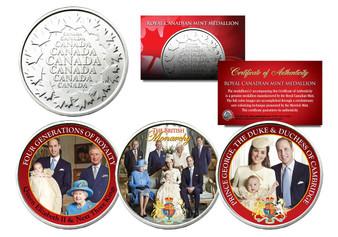British Royal Family Colorized Royal Canadian Mint 3 Medallion Set