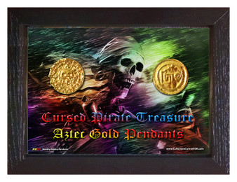 "Cursed Pirate Treasure Replica Aztec Gold Pendants 2 Medallion Set in 5"" x 7"" Frame"